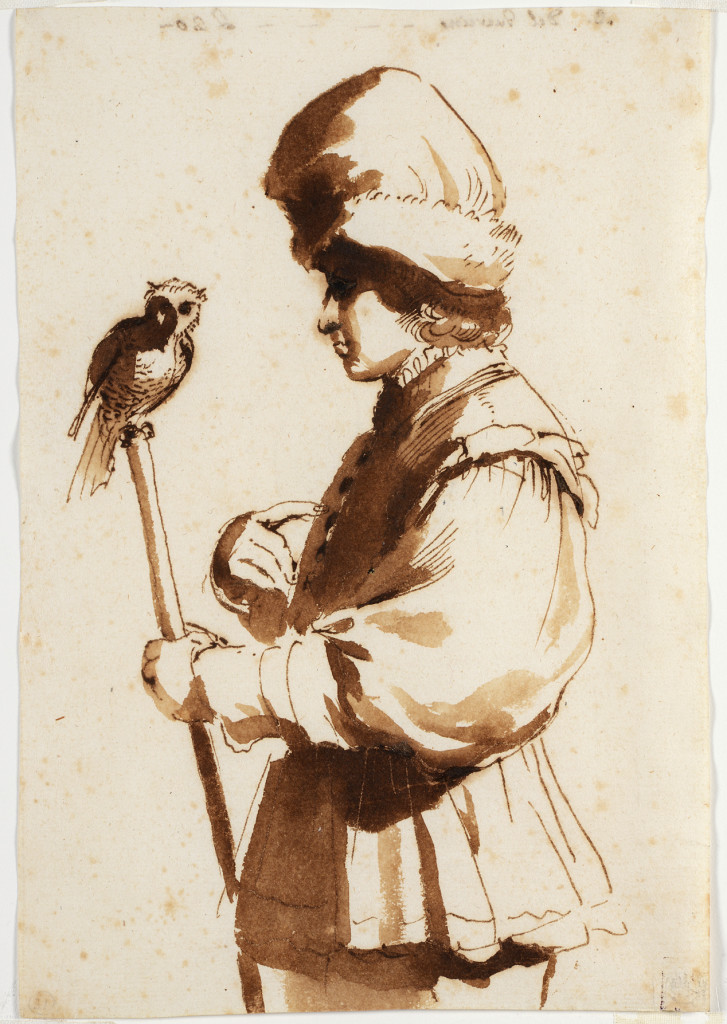 Stephen Ongpin Fine Art. A Young Man with an Owl on a stick. Giovanni Francesco Barbieri.